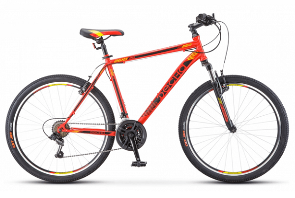 Десна 2610 V 26 V010 (2018) - горный велосипед начального уровня с мужской рамой. Особенности велосипеда -ободные тормоза, амортизационная вилка, 21 скорость и 26-дюймовые колеса.