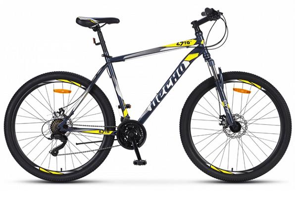 Десна 2710 MD 27.5 V020Десна 2710 MD 27.5 V020 (2019) - горный велосипед начального уровня с мужской рамой. Особенности велосипеда - дисковые механические тормоза, амортизационная вилка, 21 скорость и 27,5-дюймовые колеса.